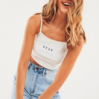 Straight Ribbed Tank Top - White