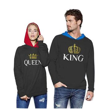Cool Dropshipping Men Male brand Print black grey anime Hoodie king queen Sweatshirt Patchwork down Jacket Coat clothes detroitAT_93_12