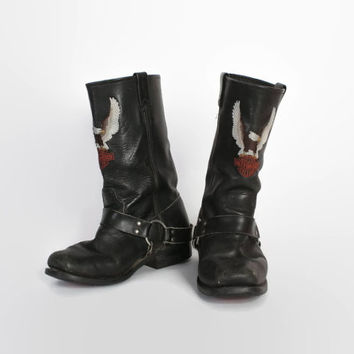 Vintage 80s HARLEY DAVIDSON BOOTS / 1980s Black Leather Harness Engineer Biker Moto Boots 9 - 9 1/2