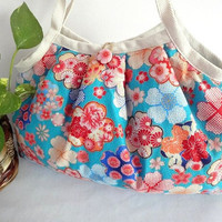 Japanese Kimono Pattern Granny bag purse flowers blue by MofLeema
