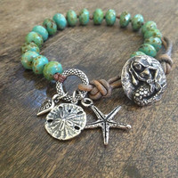 Starfish Knotted Leather Wrap Bracelet, Turquoise Beach Endless Summer