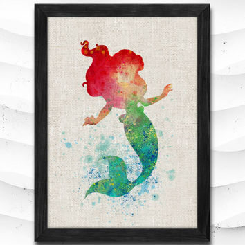 Ariel Disney Watercolor Art Print Little Mermaid Home Decor Giclee Wall Art Poster Wall Decor Art Home Decoration Linen Poster CAP23
