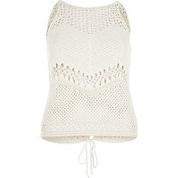 Cream crochet open back tank top - cami / sleeveless tops - tops - women