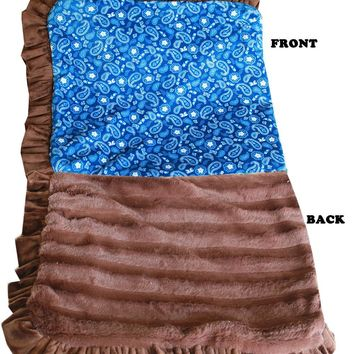 Luxurious Plush Pet Blanket Blue Western 1-2 Size