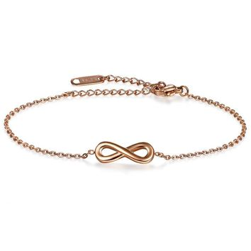 SHIPS FROM USA Girl Anklets Casual/Sporty Silver/Rose Gold Color Stainless Steel Women Ankle Infinity Bracelet Jewelry
