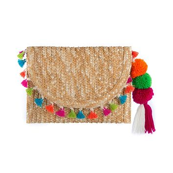 Multi Colored Pom Pom and Tassel Clutch