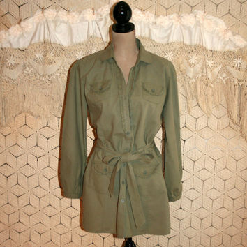 Olive Green Cotton Button Up Blouse Long Top Long Sleeve Women Shirt Belted Blouse Ruffles Safari Shirt Olive Drab Large Womens Clothing
