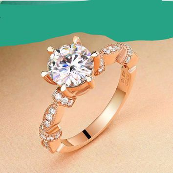 Genuine 14K Pure Rose Gold Vintage Wedding Rings For Women 1 CT  Moissanite G VVS