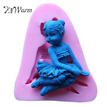 KiWarm Fairy Silicone Mold 3D Angel Girl Flower Fondant Chocolate For Cake Decorating Tool Soap Candle Kitchen Baking Accessorie