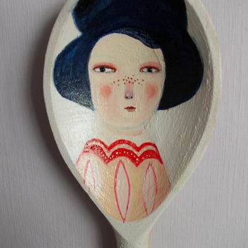 Edwardian lady - handpainted spoon - original art piece