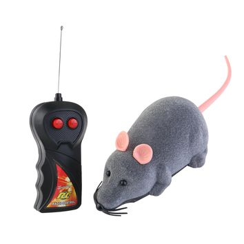 ROSENICE Remote Control Simulation Plush Mouse Mice Kids Toys Gift for Cat Dog White Ear (Gray)