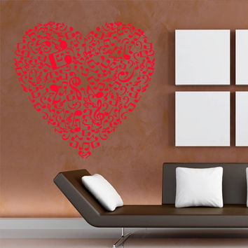 Wall decal decor decals sticker art vnyl design note heart sound music club bedroom play lounge room (m1224)