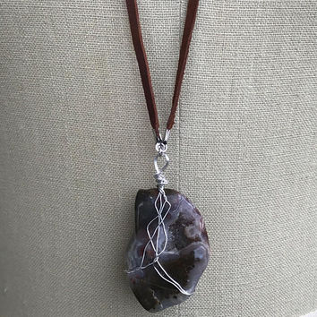 Handmade Silver Plated Wire Wrapped Locally Sourced Large Jasper Agate Geode Suede Necklace 32 inch