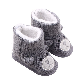 Cute Beer Baby Winter Shoes Moccasin Toddler Boy Girl Boots Newborn Prewalker Shoes Infant Soft First Walkers Booties 0-18M