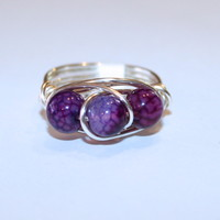 Majestic Purple Dragon Vein Silver Wrapped Ring