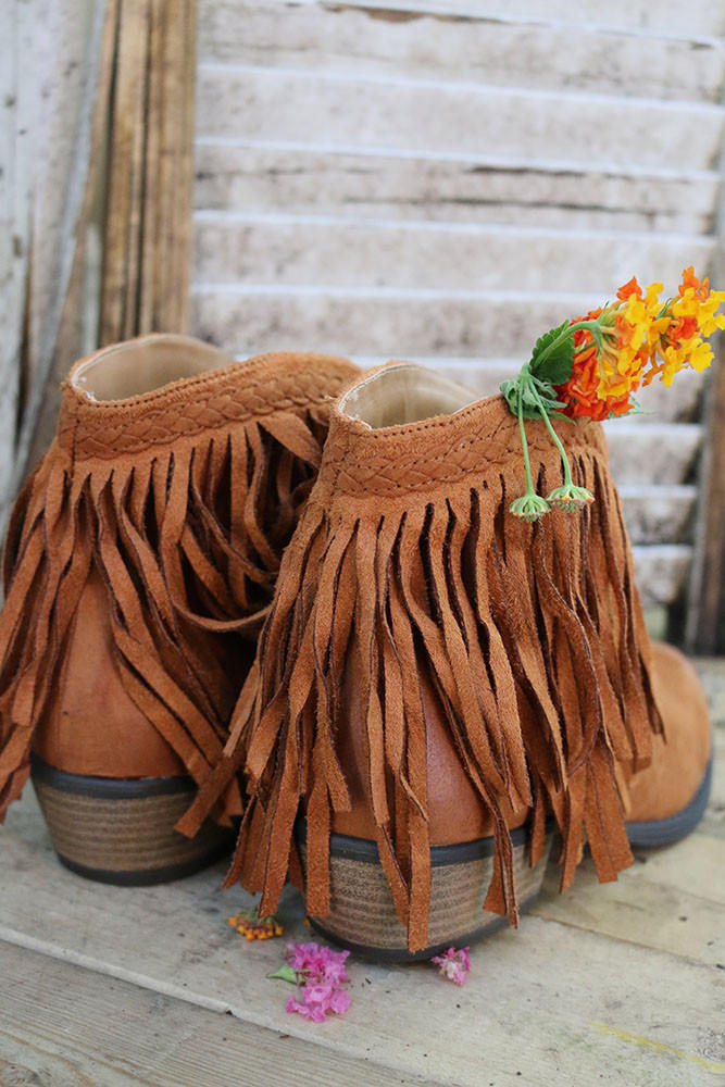 eb597a4b Hit The Road Fringe Rust Ankle Booties from Amazing Lace