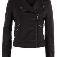 Black zip biker jacket - View All - New In - Dorothy Perkins
