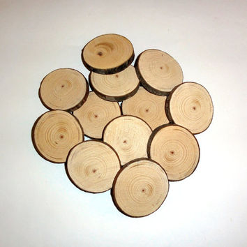 12 pieces 2 inches Rustic Wood Slices Wedding - DIY Craft wood art - wood slice discs craft and hobbies - Tree Slices- Log Rounds Slabs Wood