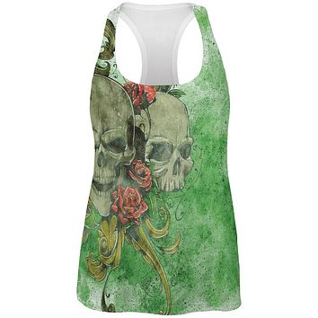 St. Patricks Day Deadly Wild Irish Rose Skull Tattoo All Over Womens Work Out Tank Top