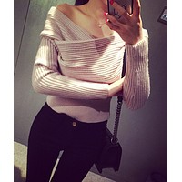 HOT CROSS OFF SHOULDER SWEATER