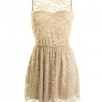 LOVE Beige V Back Lace Dress - Love