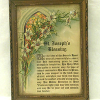 Vintage Wooden Framed St. Joseph's Blessing / Catholic Prayer 8 And 3/4 inches X 5 & 3/4 inches wide X 1.2 inches deep Some Light Wear