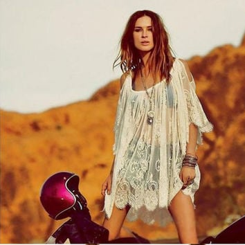 Delicate and Sheer - Hot Hippie Embroidered Floral Bohemian Lace Crochet Beach Mini Dress