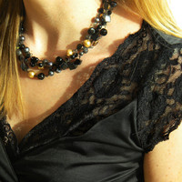 Gold Black Necklace, Black Necklace, Beaded Necklace, 4 Strand Beaded Necklace, Formal Wear Jewelry, Bling Necklace