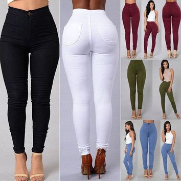 VOND4H Women Denim Skinny Leggings Pants 2017 New Arrive High Waist Stretch Jeans Slim Pencil Trousers Army Green White Red Blue Black
