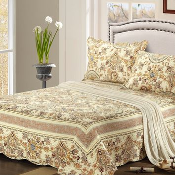 Tache 2-3 Piece Floral Summer Gold Royal Medallion Reversible Bedspread Set (SD3198)