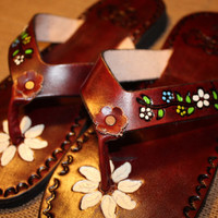 Flowers on Brown Leather Mexican Shoes-Flip Flops-Sandals-Hippie-BOHO- Tribal- Shoes- Summer
