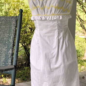1950 Vintage Dress/1950s Sheath Dress White Cotton Size XS