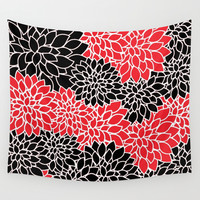 Black & Red Pattern Wall Tapestry by Aloke Design