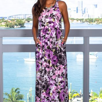 Lilac Floral Maxi Dress with Pockets
