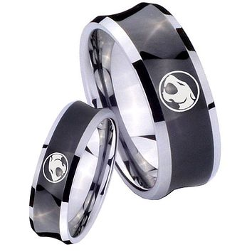 His Her Black Concave Thundercats Two Tone Tungsten Wedding Rings Set
