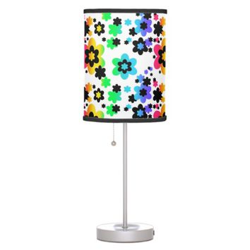 Rainbow Floral Teen Girl Bedroom Desk Dresser Table Lamp