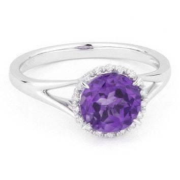 14k white gold 1.25ct amethyst and diamond halo ring