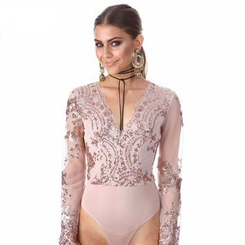 Sexy Golden Lace Embroidered Bodysuit
