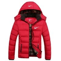 DCCKB62 NIKE' Men Fashion Long Sleeve Cardigan Bread Down Coat Cotton-padded Clothes Jacket G