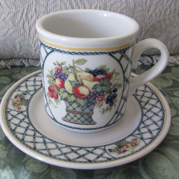 Sale* Rego BOUNTIFUL cup, mug and bread plate, Retro Restaurant Ware version of Villeroy and Boch BASKET Great find!