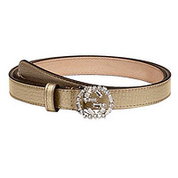 Gucci Women's Metallic Leather Crystal Interlocking GG Buckle Belt