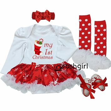 First Birthday Newborn Gift Clothing Set Baby Girls Dress Cotton Mesh Ruffle Girl Christening Gowns 4pcs Christmas 1st Dress Set