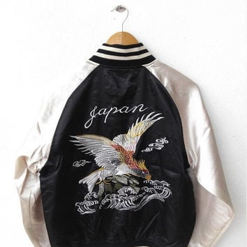 HOT SALE Vintage 90's SUKAJAN Japanese Eagles Embroidery Japan Embroidered Souvenirs Satin Black Jacket Size M