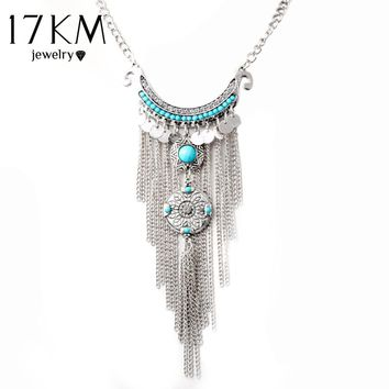 17KM Gros Collier Femme Collares Tassel Maxi Coin Necklace Geometric Pendant Charm Women Colar Statement Boho Necklaces colliers