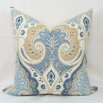 "Blue & tan ikat pillow cover. Kravet Latika decorative pillow cover. 18"" x 18"". 20"" x 20"". toss pillow. accent pillow. sofa pillow."