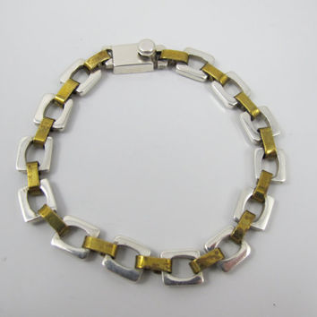 Vintage Taxco Sterling Bracelet, Mexico Sterling Brass Links Modernist Abstract TA-05 23.4 Grams