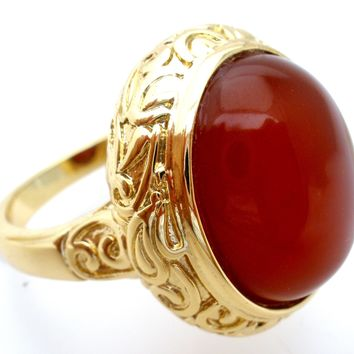 18K Gold Plated Bronze Ring with Carnelian