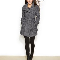 Calvin Klein Double-Breasted Belted Pea Coat | macys.com