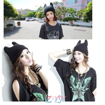2015 Korean Style Womens Devil Horn Knitted Hat Cat Ears Caps Cute Girls Gifts (Color: Black) = 1958056772