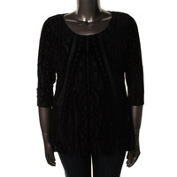 Style & Co. Womens Plus Textured Burnout Tunic Top